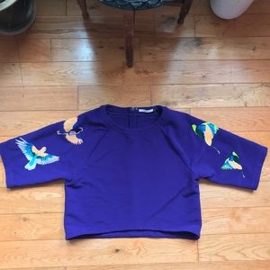 Purple Embroidered Bird Boxy Crop Top